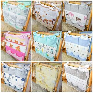 New Baby Cot Tidy / Organiser 6 Pockets for Nursery Cot/ Cotbed