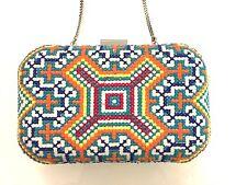 Zara Embroidered Multicolor Geometric Print Raffia Box Clutch Purse (MSRP $38)
