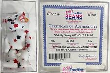 """ULTRA RARE ODDITY!! """"GLORY (MISSING FLAG!)"""" Bear AUTHENTICATED Ty Beanie Babies!"""
