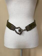 "Garuglieri Womens Green Croc Print Belt Size S Rugged Metal Hook And Loop  1.5"""