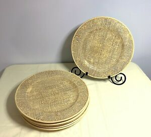 Vietri Yellow/Tan Woven Dinner Plates Chargers 12 3/4'' - Set Of 6