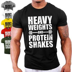 Heavy Weights and Protein Shakes | UK Bodybuilding T-Shirt Gym Workout Training