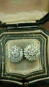 1.50Ct Baguette & Round Cut Diamond Women's Cluster Earrings 14K Yellow Gold