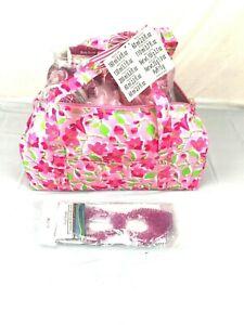 10 pc Pink Duffel Bag Bath Set with eye mask fresia NIP