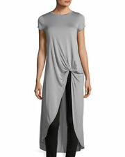 new NEIMAN MARCUS FRONT KNOT SHORT SLEEVE TUNIC GREY XL
