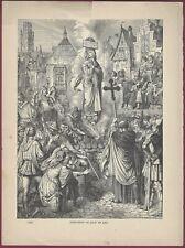 """Vintage Steel Engraving, """"Execution of Joan of Arc"""", German Print, 1888"""