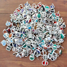 WHOLESALE LOT 50PCS MIX GEMSTONE RINGS 925 SILVER OVERLAY METAL JEWELRY