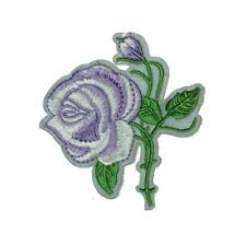 Pale Purple White Rose Flower (Iron On) Embroidery Applique Patch Sew Iron Badge