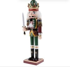 30cm Wooden Nutcracker Solid Christmas Model Figure Toy Home Decor