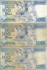 LOT 6X Portugal Portuguese 100 Escudos Banknote
