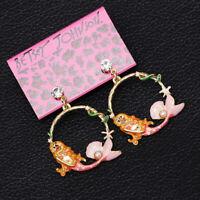 Women's Enamel Crystal Mermaid Eardrop Betsey Johnson Dangle Earrings Gift