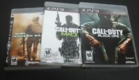 PS3 GAME LOT OF 3 CALL OF DUTY GAMES. MODERN WARFARE2, MW3, BLACK OPS