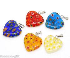20 Mixed Millefiori Glass Lampwork Heart Charm Pendants