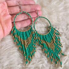 Indiana Hippies Bohemian Womens Green Beads Fringes Tassels Long Hook Earrings