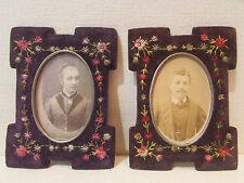 ancienne paire de cadres porte photo tissu velours brodé decor floral medaillon