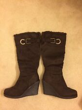 SODA womens Faux Suede Wedge Brown knee high boots size 8
