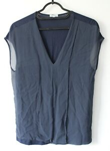JIGSAW Woman Blue Cotton and Silk Basic Casual Stretchy Back Top T Shirt Size S