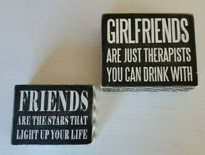 Girlfriends Therapists You Drink With Friend Stars Light Life Wood Blocks signs