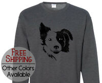 Border Collie Face Graphic Long Sleeve Pet Lover Gift Printed Sweatshirt Shirt