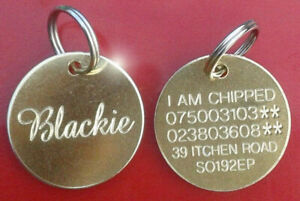 Engraved Pet Tags Id Disc Tag Cat Dog Collar Metal Brass Silver Nickel & Ring