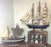 Vintage Wood Model Ship Stand Boat Nautical Decor LOT Free Shipping