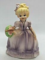 "💐Vintage Inarco 6"" Porcelain Girl Figurine with Flower Basket E-4692 1960's"