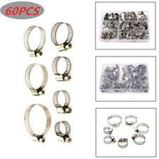 60PCS/Set Hose Pipe Hoop Strong Hose Clamps Wire Assorted Stainless Steel W/Box