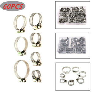 Hose Pipe Hoop Strong Hose Clamps Wire Assorted Stainless Steel W/Box 60PCS/Set