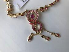 CAPIZ BEAUTIFUL UNIQUE VINTAGE DESIGN GOLD FAUX RED PURPLE CRYSTAL GLAM NECKLACE