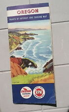 1953 Oregon  road map Chevron oil gas  Oregon Coast cover booklet