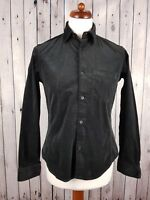Mens Black Corduroy Short Slim Fit Long Sleeve Stretch Cord Shirt -Medium- GA68