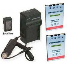 TWO NP-20 Batteries + Charger for Casio EX-M1 EX-M2 EX-M20 EX-M20U EX-S1 EX-S100