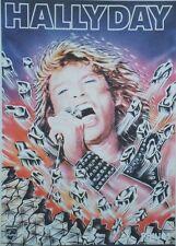"""""""Johnny HALLYDAY / DISQUES PHILIPS 1982"""" Affiche originale entoilée  42x62cm"""