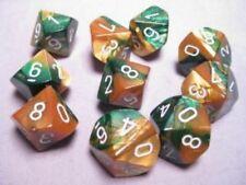 Chessex Gemini Gold Green w/ White Set of Ten d10 Dice Brand New 26225