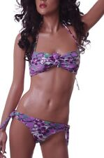 Womens Purple Green 2 Piece Bikini Bathing Suit Halter Strapless Medium NEW