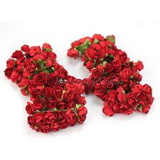 HOT SALE 144X Red Mini Artificial Paper Rose Flower Wedding Bridal Bouquet Card