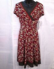 Studio I Dress 8P Petite NEW Geometric Print Rust Brown Stretch Knit Career Work