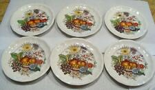 6 Copeland Spode China Reynolds Bread and Butter Plates 6 1/2 in  Fruit Flowers