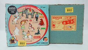 2 Vintage Dutch SIMPLEX Puzzle Plywood The Mouse House & The Circus | Complete