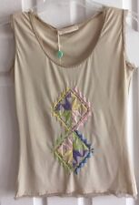 NWT Ermanno Scervino Sleeveless Ivory W/Embroidery Bead Top Made In Italy US6