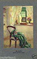 Am Fenster Kunstdruck 1912 von Walter Hampel * Reindorf † Nußdorf Kleid grün  -