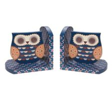 Painted Blue Owl Bookends