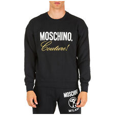 MOSCHINO MEN'S SWEATSHIRT SWEAT NEW OVERSIZE FIT BLACK 7EF
