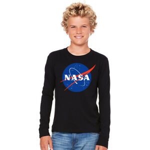 NASA SPACE ASTRONAUT VINTAGE LOOK 80's KIDS COTTON LONG SLEEVE T-SHIRT