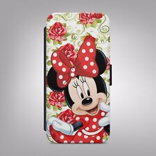 Minnie Mouse Floral Disney LEATHER FLIP PHONE CASE COVER fits IPHONE & SAMSUNG