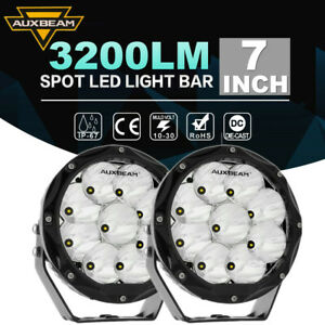"AUXBEAM 7"" Inch Round LED Work Lights Spot Beam Lamps DRL Driving Light Offroad"