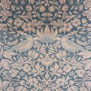 Blue Cherry Thief Style William Morris Print Cotton Fabric Curtains Cushions