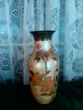 Japanese Copper Vase Hand Painted Lavenders and Gold