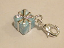 LOBSTER CLIP ON BLUE GIFT BOX PRESENT CHARM- WILL FIT THOMAS SABO LINK BRACELET