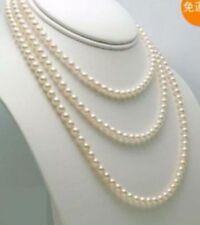 """Beautiful 7-8mm Genuine white freshwater pearl necklace 60"""""""